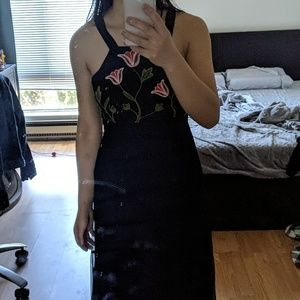 Anthropologie maxi blue floral prom wedding dress
